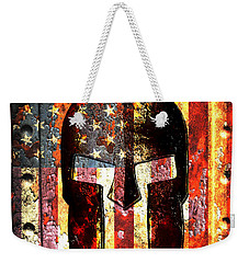 American Flag And Spartan Helmet On Rusted Metal Door - Molon Labe Weekender Tote Bag