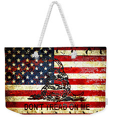 American Flag And Viper On Rusted Metal Door - Don't Tread On Me Weekender Tote Bag