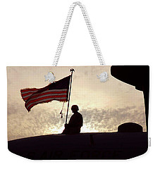 Weekender Tote Bag featuring the painting American Flag Atop An Aircraft by Artistic Panda