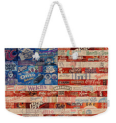 American Flag - Made From Vintage Recycled Pop Culture Usa Paper Product Wrappers Weekender Tote Bag