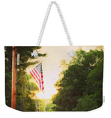 American Flag On A Country Road Weekender Tote Bag
