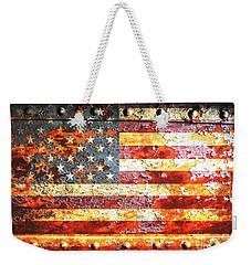 American Flag On Rusted Riveted Metal Door Weekender Tote Bag by M L C