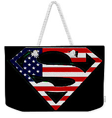 American Flag Superman Shield Weekender Tote Bag