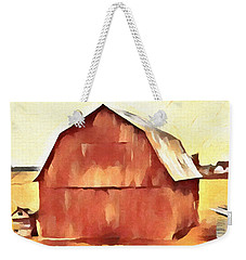 Weekender Tote Bag featuring the painting American Gothic Red Barn by Dan Sproul