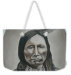 Weekender Tote Bag featuring the painting American Horse by Michael  TMAD Finney