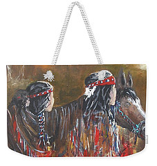 Weekender Tote Bag featuring the painting American Indians Family by Miroslaw  Chelchowski