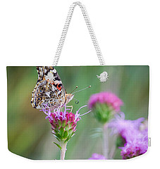 Weekender Tote Bag featuring the photograph American Lady Butterfly by Heidi Hermes