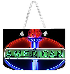 Weekender Tote Bag featuring the photograph American Oil Sign by Sandy Keeton