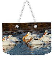 American Pelicans - 02 Weekender Tote Bag by Rob Graham