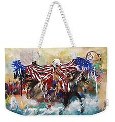 Weekender Tote Bag featuring the painting American Pride by Miroslaw  Chelchowski