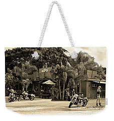 Weekender Tote Bag featuring the photograph American Roadhouse Sepia by Laura Fasulo
