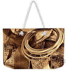 American West Legend Rodeo Western Lasso On Saddle Weekender Tote Bag by American West Legend By Olivier Le Queinec
