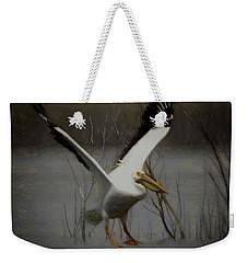 American White Pelican Da Square Weekender Tote Bag by Ernie Echols