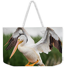 American White Pelican Perched Weekender Tote Bag by Ricky L Jones
