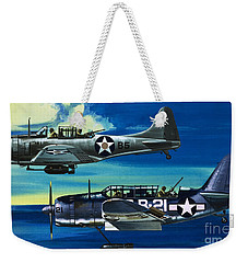 American Ww2 Planes Douglas Sbd1 Dauntless And Curtiss Sb2c1 Helldiver Weekender Tote Bag