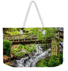Weekender Tote Bag featuring the photograph Amicalola Falls Top To Bottom by Debra and Dave Vanderlaan