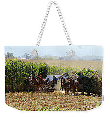 Amish Men Harvesting Corn Weekender Tote Bag