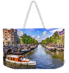 Weekender Tote Bag featuring the photograph Amsterdam Pleasure Boat by Janis Knight