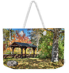 Weekender Tote Bag featuring the photograph An Autumn Picnic In Maine by Shelley Neff