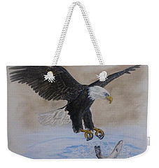 Weekender Tote Bag featuring the painting An Eagles Easy Catch by Kelly Mills