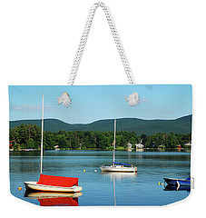 An Early Calm On A Berkshire Lake Weekender Tote Bag by James Kirkikis
