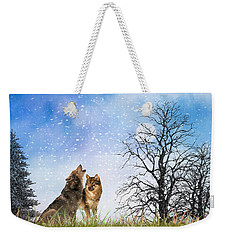 An Early Winter Howl Weekender Tote Bag by Diane Schuster