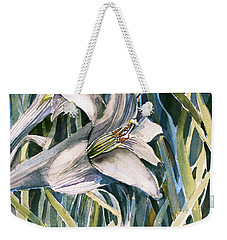 Weekender Tote Bag featuring the painting An Easter Lily by Mindy Newman