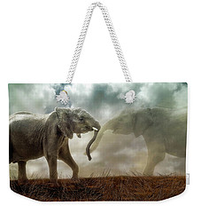 Weekender Tote Bag featuring the digital art An Elephant Never Forgets by Nicole Wilde