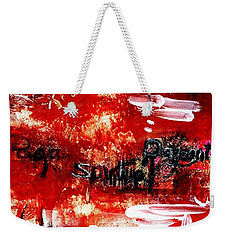 Weekender Tote Bag featuring the painting An Erotic Poem - Art And Words by Carolyn Weltman