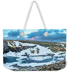 An Icy Waterfall Panorama During Sunrise In Iceland Weekender Tote Bag