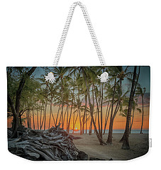 Weekender Tote Bag featuring the photograph Anaehoomalu Beach Sunset by Susan Rissi Tregoning