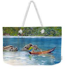 Weekender Tote Bag featuring the painting Anak Dan Perahu by Melly Terpening
