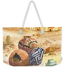 Weekender Tote Bag featuring the painting Anasazi Remnants by Marilyn Smith