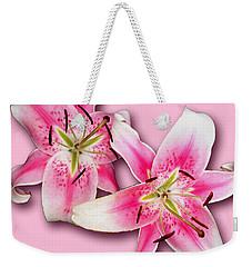 Anastasia Lilies On Pink Weekender Tote Bag