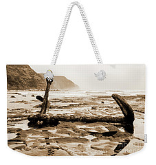 Weekender Tote Bag featuring the photograph Anchor At Rest Sepia Tones by Angela DeFrias