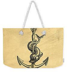 Weekender Tote Bag featuring the drawing Anchor Vintage by Edward Fielding