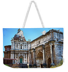 Weekender Tote Bag featuring the photograph Ancient Ruins At The Roman Forum by Eduardo Jose Accorinti