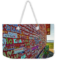 Weekender Tote Bag featuring the photograph Anderson Warehouse Graffiti  by Susan Rissi Tregoning