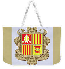 Weekender Tote Bag featuring the drawing Andorra Coat Of Arms by Movie Poster Prints