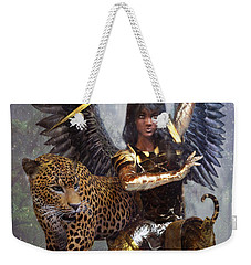 Weekender Tote Bag featuring the painting Angel 3 by Suzanne Silvir