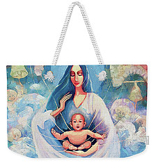 Weekender Tote Bag featuring the painting Angel Blessing by Eva Campbell