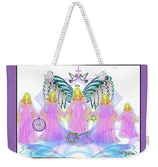 Weekender Tote Bag featuring the digital art Angel Cousins #198 by Barbara Tristan