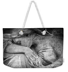 Weekender Tote Bag featuring the photograph Angel In Mourning - Angel Crying Sad Cemetery Mourner At Grave - Angel Love Script Valentine Print by Kathy Fornal