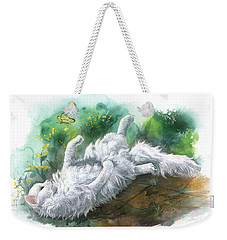 Weekender Tote Bag featuring the painting Angel In The Morning by Sherry Shipley