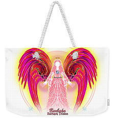 Weekender Tote Bag featuring the digital art Angel Intentions Divine Timing by Barbara Tristan