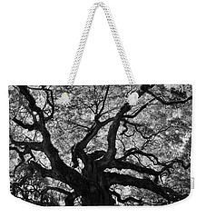 Weekender Tote Bag featuring the photograph Angel Oak Johns Island Black And White by Lisa Wooten