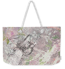 Weekender Tote Bag featuring the painting Angel On Pink And Green Florals by Judith Cheng