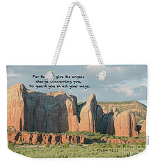 Weekender Tote Bag featuring the photograph Angel Wings Rock Psalm 91 V 11 by Debby Pueschel