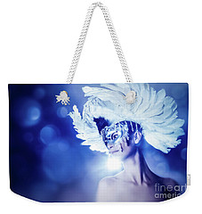 Weekender Tote Bag featuring the photograph Angel Wings Venetian Mask With Feathers Portrait by Dimitar Hristov