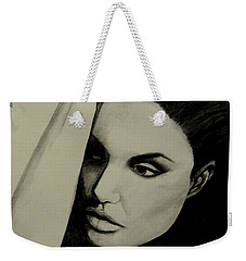 Weekender Tote Bag featuring the drawing Angelina by Michelle Dallocchio